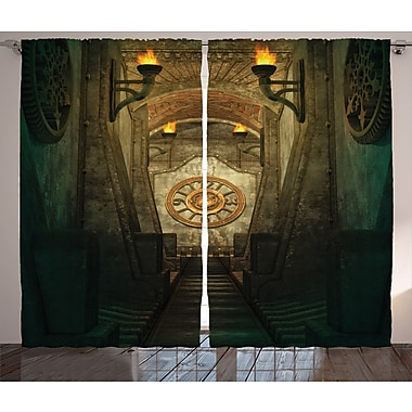 Torch and Golden Clock Graphic Print and Text Semi-Sheer Rod pocket Curtain Panel (Set of 2)
