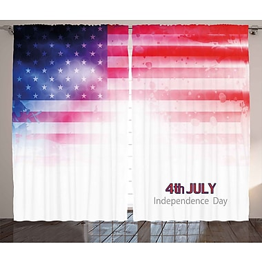 4th of July Decor Graphic Print & Text Semi-Sheer Rod Pocket Curtain Panels (Set of 2)