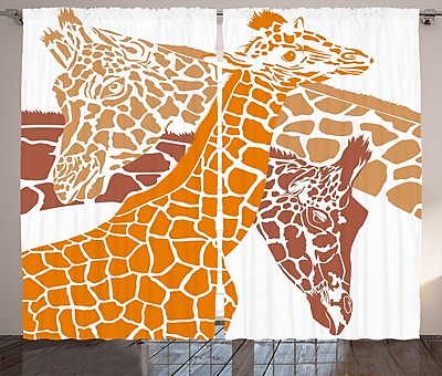 World Menagerie Huynh Giraffe Graphic Print & Text Semi-Sheer Rod Pocket Curtain Panels (Set of 2) WYF078281150684