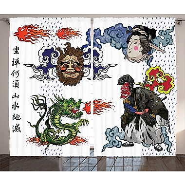 Anirudh Dragon Graphic Print and Text Semi-Sheer Rod Pocket Curtain Panels (Set of 2)