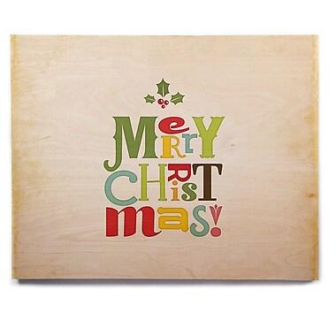 East Urban Home 'Merry Christmas' Textual Art on Wood; 12'' H x 12'' W x 1'' D