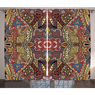 Ebern Designs Traci Psychedelic Graphic Print & Text Semi-Sheer Rod Pocket Curtain Panels (Set of 2)