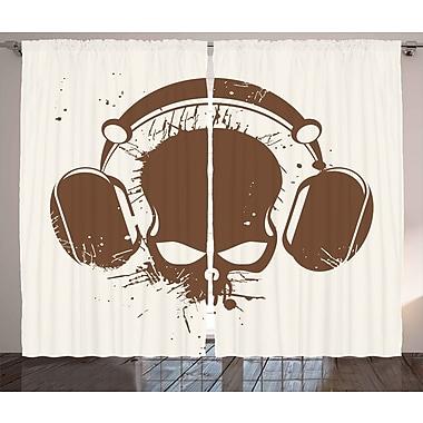 Ebern Designs Tori Music Graphic Print & Text Semi-Sheer Rod Pocket Curtain Panels (Set of 2)