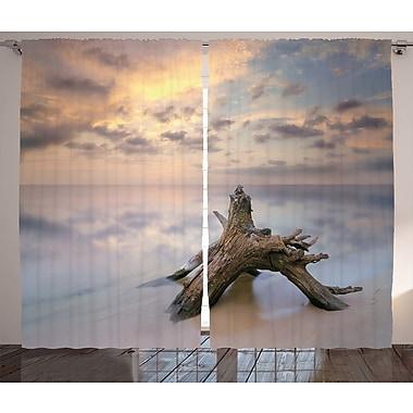 Latitude Run Emilia Driftwood Graphic Print & Text Semi-Sheer Rod Pocket Curtain Panels (Set of 2)