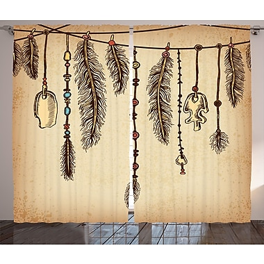 Latitude Run Borquez Tribal Graphic Print and Text Semi-Sheer Rod Pocket Curtain Panels (Set of 2)