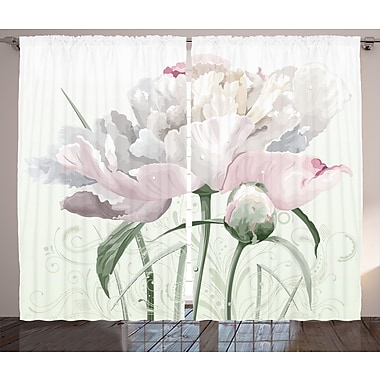 Tullis Flower Graphic Print and Text Semi-Sheer Rod Pocket Curtain Panels (Set of 2)
