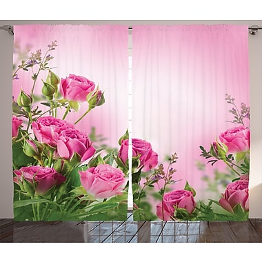 Turner Flower Graphic Print and Text Semi-Sheer Rod Pocket Curtain Panels (Set of 2)
