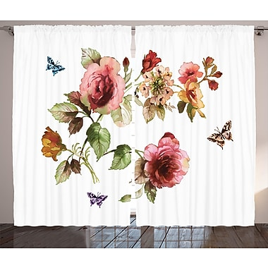 Van Andel Flower Graphic Print and Text Semi-Sheer Rod Pocket Curtain Panels (Set of 2)