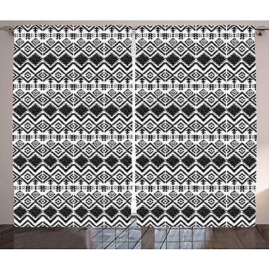 Ivy Bronx Jose Modern Decor Graphic Print & Text Semi-Sheer Rod Pocket Curtain Panels (Set of 2)