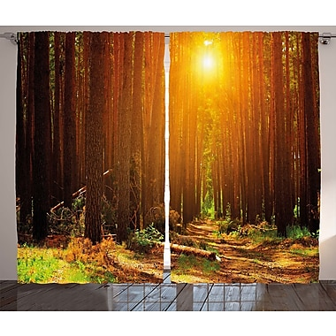 Loon Peak Caddie Landscape Graphic Print and Text Semi-Sheer Rod Pocket Curtain Panel (Set of 2)