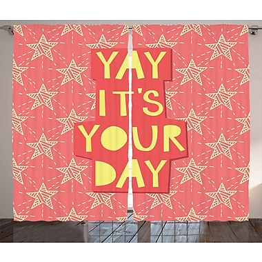 Ivy Bronx Timothy Quote Graphic Print & Text Semi-Sheer Rod Pocket Curtain Panels (Set of 2)