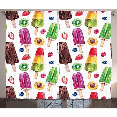 Ivy Bronx Ayden Fractal Graphic Print & Text Semi-Sheer Rod Pocket Curtain Panels (Set of 2)