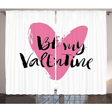 Jinny Valentines Day Graphic Print and Text Semi-Sheer Rod Pocket Curtain Panels (Set of 2)