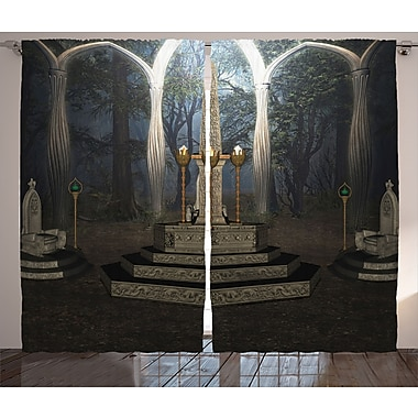 East Urban Home Ritual Scenery Graphic Print and Text Semi-Sheer Rod pocket Curtain Panel (Set of 2)