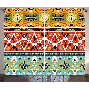 Decker Tribal Graphic Print and Text Semi-Sheer Rod Pocket Curtain Panels (Set of 2)