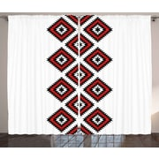 Bloomsbury Market Dede Tribal Graphic Print and Text Semi-Sheer Rod Pocket Curtain Panels (Set of 2)