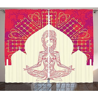 World Menagerie Thanh Chakra Graphic Print and Text Semi-Sheer Rod Pocket Curtain Panels (Set of 2)