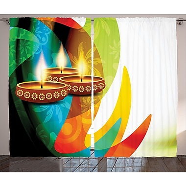World Menagerie Tharte Diwali Graphic Print and Text Semi-Sheer Rod Pocket Curtain Panels (Set of 2)