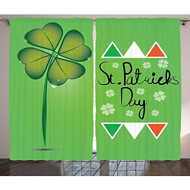 St. Patrick's Day Graphic Print and Text Semi-Sheer Rod Pocket Curtain Panels (Set of 2)