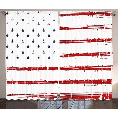 The Holiday Aisle American Graphic Print and Text Semi-Sheer Rod Pocket Curtain Panels (Set of 2)