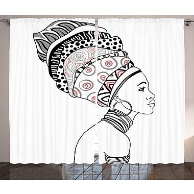 Wijchen Afro Decor Graphic Print & Text Semi-Sheer Rod Pocket Curtain Panels (Set of 2)