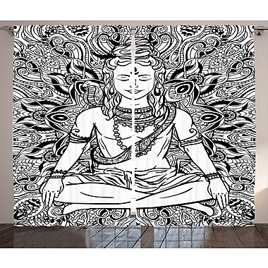 World Menagerie Settat Yoga Graphic Print and Text Semi-Sheer Rod Pocket Curtain Panels (Set of 2)