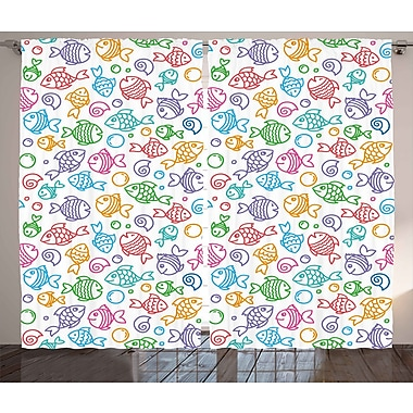 Zoomie Kids Chad Kids Decor Graphic Print & Text Semi-Sheer Rod Pocket Curtain Panels (Set of 2)