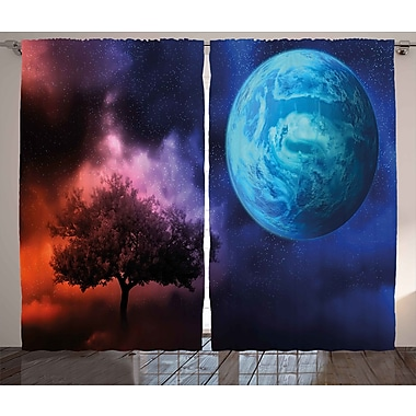 Zoomie Kids Chandra Space Graphic Print & Text Semi-Sheer Rod Pocket Curtain Panels (Set of 2)