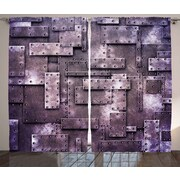 Edson Industrial Graphic Print and Text Semi-Sheer Rod Pocket Curtain Panels (Set of 2)