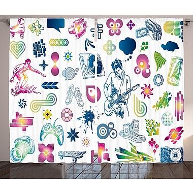 Ebern Designs Ciera Music Graphic Print & Text Semi-Sheer Rod Pocket Curtain Panels (Set of 2)