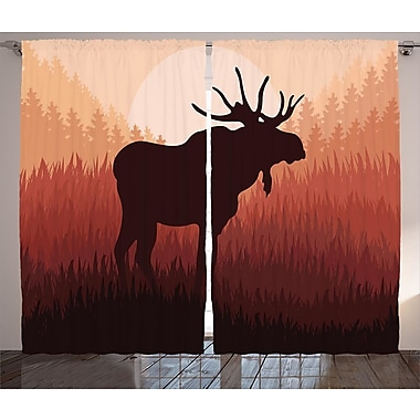 Loon Peak Camelia Moose Graphic Print and Text Semi-Sheer Rod Pocket Curtain Panel (Set of 2)