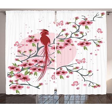 Pratyush Japanese Graphic Print and Text Semi-Sheer Rod Pocket Curtain Panels (Set of 2)