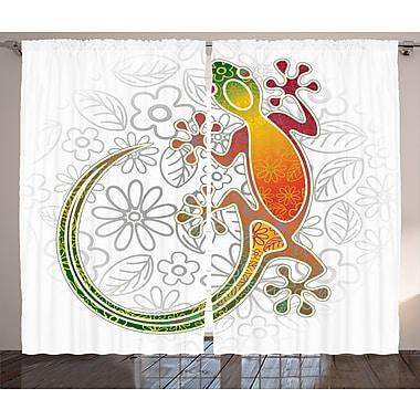 Latitude Run Keshia Batik Decor Graphic Print & Text Semi-Sheer Rod Pocket Curtain Panels (Set of 2)
