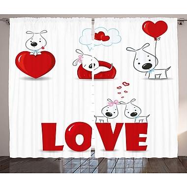 Magan Valentines Day Graphic Print and Text Semi-Sheer Rod Pocket Curtain Panels (Set of 2)