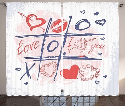 Etta Valentines Day Graphic Print and Text Semi-Sheer Rod Pocket Curtain Panels (Set of 2) WYF078281146743