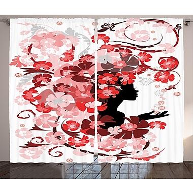 Latitude Run Berndt Girly Graphic Print and Text Semi-Sheer Rod Pocket Curtain Panels (Set of 2)