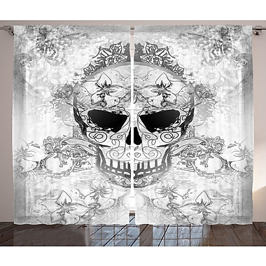 Johnette Day of The Dead Graphic Print and Text Semi-Sheer Rod Pocket Curtain Panels (Set of 2)