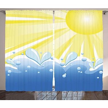 Latitude Run Izola Landscape Graphic Print & Text Semi-Sheer Rod Pocket Curtain Panels (Set of 2)
