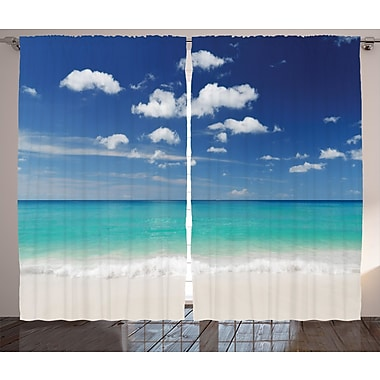 Constantia Tropical Graphic Print and Text Semi-Sheer Rod Pocket Curtain Panels (Set of 2)