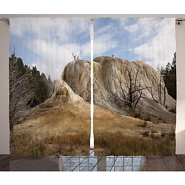 Masonville Yellowstone Graphic Print and Text Semi-Sheer Rod Pocket Curtain Panels (Set of 2)
