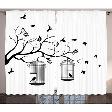 Red Barrel Studio Mather Graphic Print and Text Semi-Sheer Rod Pocket Curtain Panels (Set of 2)