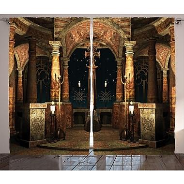 Ancient Hall Pillars Graphic Print and Text Semi-Sheer Rod pocket Curtain Panel (Set of 2)