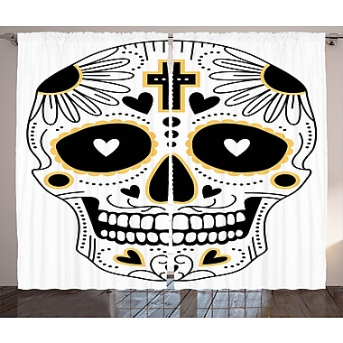 Brashear Day Of The Dead Graphic Print & Text Semi-Sheer Rod Pocket Curtain Panels (Set of 2)