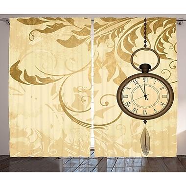Methuen Clock Decor Graphic Print & Text Semi-Sheer Rod Pocket Curtain Panels (Set of 2)