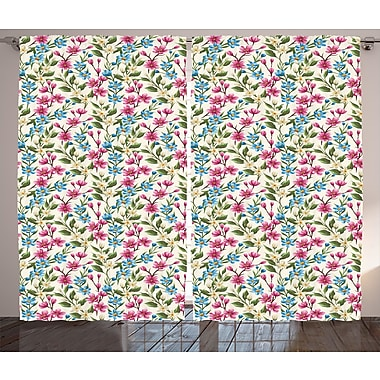 Hyndman Flower Graphic Print and Text Semi-Sheer Rod Pocket Curtain Panels (Set of 2)