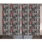 Red Barrel Studio Kersey Ethnic Graphic Print & Text Semi-Sheer Rod Pocket Curtain Panels (Set of 2)