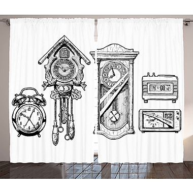 Lansdale Clock Graphic Print and Text Semi-Sheer Rod Pocket Curtain Panels (Set of 2)