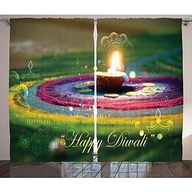Touaourou Diwali Graphic Print and Text Semi-Sheer Rod Pocket Curtain Panels (Set of 2)