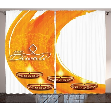World Menagerie Yacoub Diwali Graphic Print and Text Semi-Sheer Rod Pocket Curtain Panels (Set of 2)