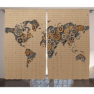 World Menagerie Yahoue Modern Graphic Print and Text Semi-Sheer Rod Pocket Curtain Panels (Set of 2)